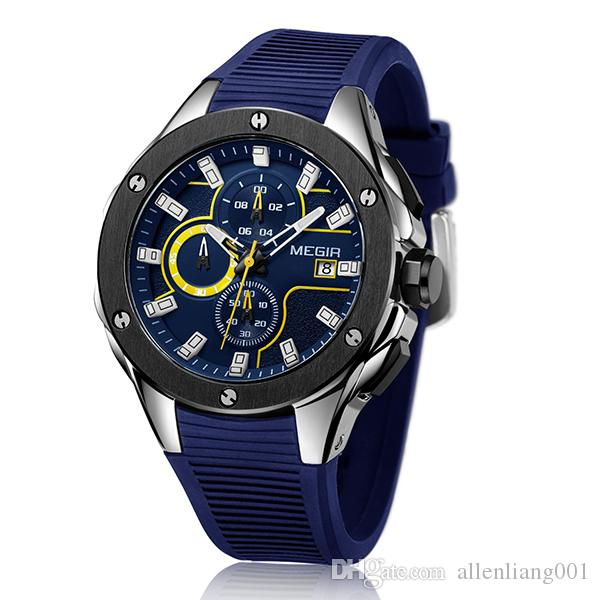 163b641256d Men Sport Watch MEGIR Chronograph Silicone Strap Quartz Army Military  Watches Clock Men Top Brand Luxury Male Waterproof Wristwatches  2053  Digital Watch ...