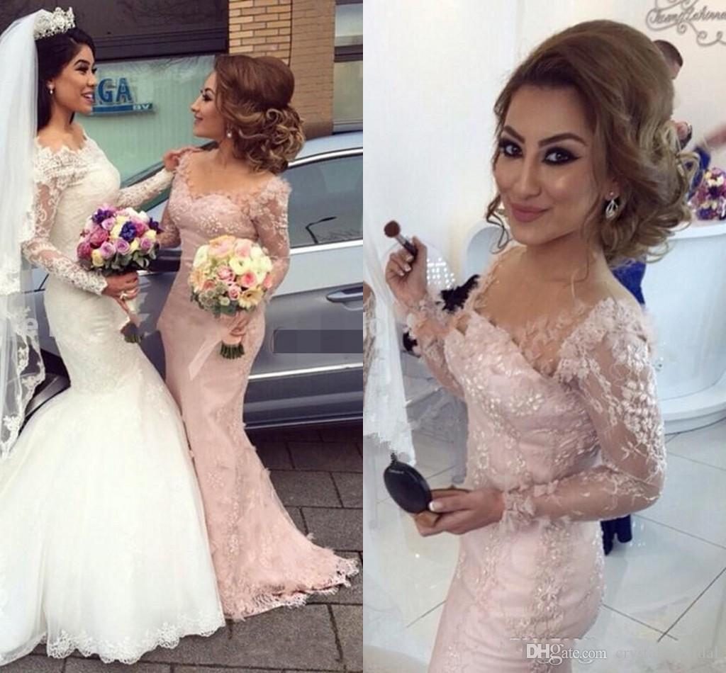 9d417008b6 2018 Sexy Blush Pink Bridesmaid Dresses Cheap V Neck Long Sleeves Mermaid  Lace Flowers Maid Of Honor Gowns Formal Junior Bridesmaids Dress Dusky Pink  ...