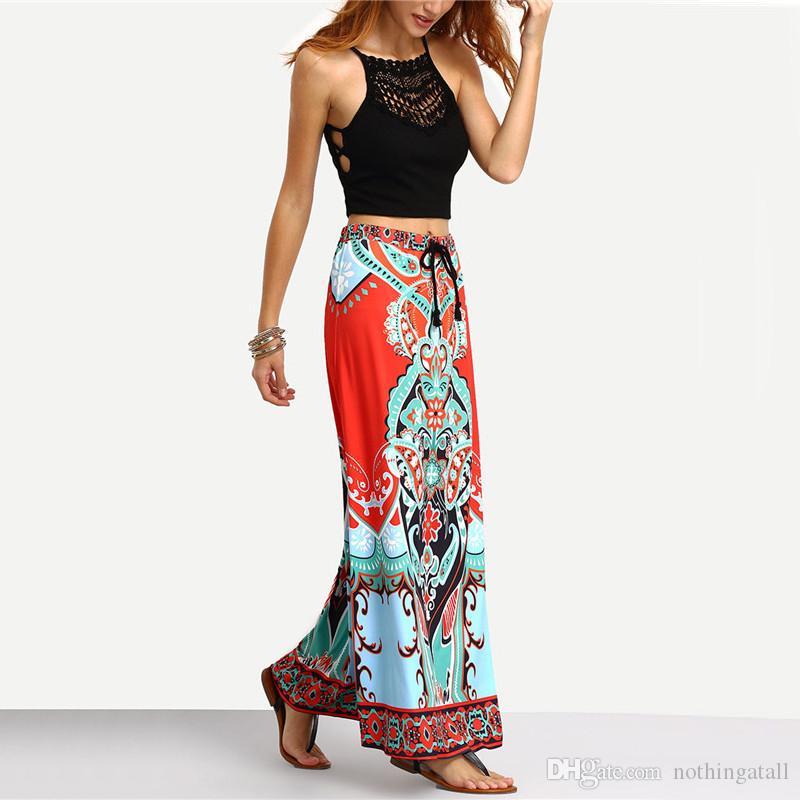 49c9f09f1 Falda larga de verano maxi para mujeres señoras Multicolor Vintage Boho  Tribu de impresión tribal atado cintura A Line Skirt