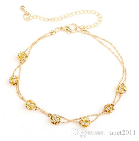 Delicated Ankle Bracelets Gold Tone CZ Stone Inlayed Multi Layer Anklets Gothic Foot Chains Barefoot Beach Sandals Ankle Chain