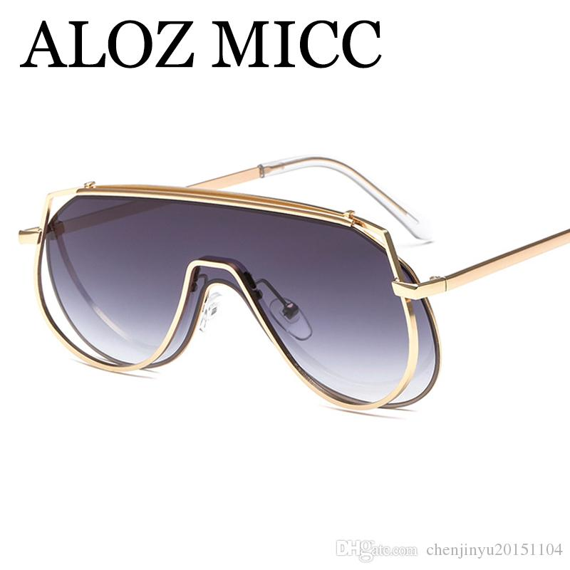 c95ca30468 ALOZ MICC Luxury Sunglasses New One Sieces Women Designer Sunglasses  Oversized Square Sun Glasses Men High Quality Metal Eyeglassesuv400A580  Wiley X ...