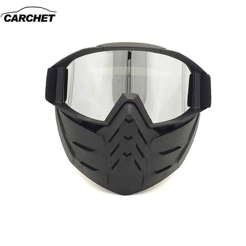 77056eac8b42e Compre CARQUETA Unisex Capacete Da Motocicleta Óculos Máscara Facial  Motocross Off Road À Prova De Vento Tático Óculos De Proteção Óculos De  Engrenagem Das ...