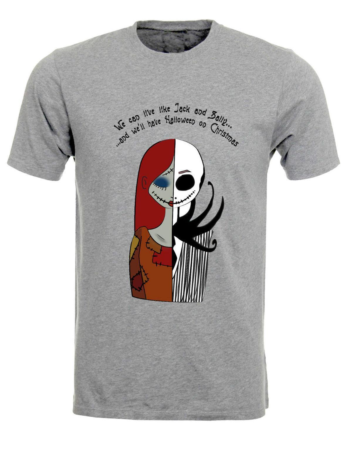 Jack And Sally Nightmare Before Christmas Lovers Illustration Mens T ...
