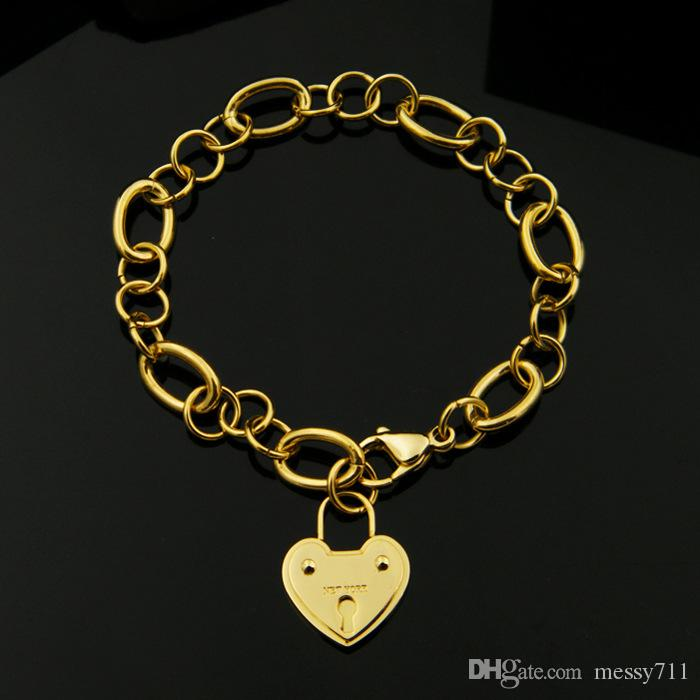 fashion new model classic stainless steel big heart with lock round chain lady Lobster clasp bracelet
