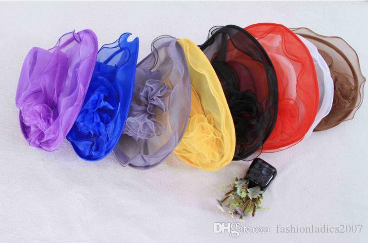 여성 Organza 모자 켄터키 더비 웨딩 교회 드레스 차 파티 꽃 일 여름 해변 모자 C889