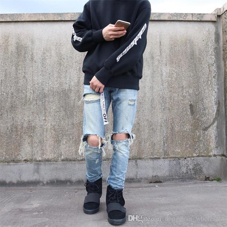 fear of god fog moto biker men's Hole classics Best version zippers skinny slim fit mens holes style cotton Denim ripped jeans 2018