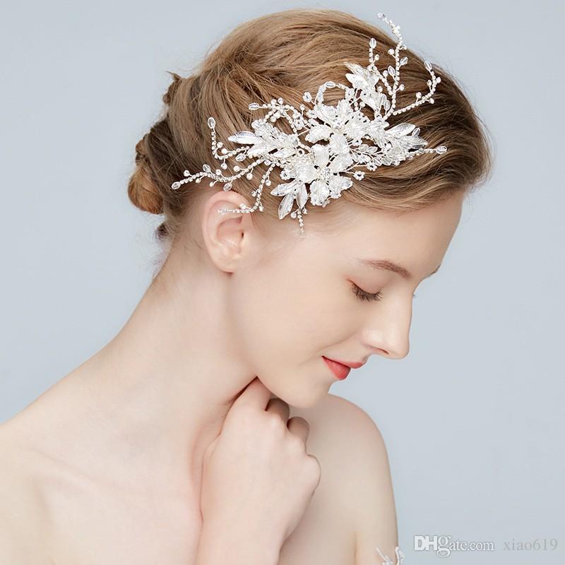2018 argento fiore copricapo da sposa foglia capelli clip da sposa barrettes accessori capelli donne tiara prom partito