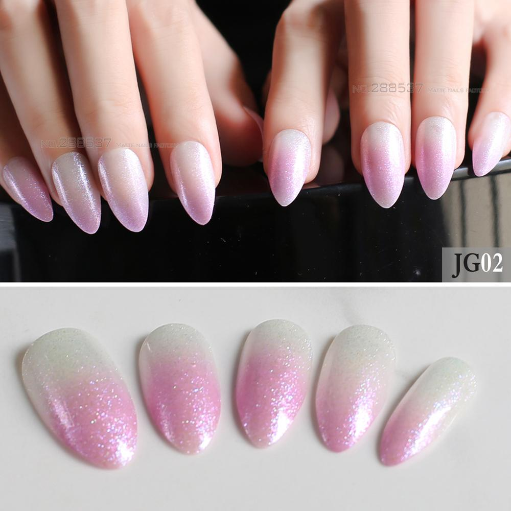 Cute Glitter Pink White Gradient Natural Fake Nails Full Sets End