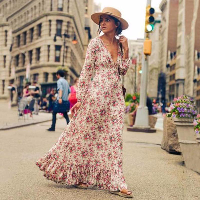 2019 2018 Bohemian Printed Long Dress Women Floral Printed Maxi Dresses  Hippe Deep V Neck Ruffle Dress Chic Boho Clothing Rome Femme Y1891104 From  ... 3da552fea468