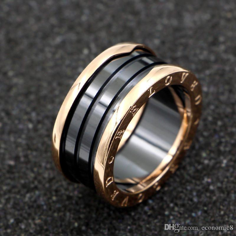 Black/White Ceramic Whorl Rings, Yellow Gold/ Rose Gold /Silver Metal colors Titanium Stainless steel brand Women/Men Jewelry---Size 5 to 12