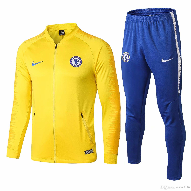 Compre Novo 18 19 Temporada Casaco Chelsea Morata Fabregas 2018 2019 Fora  De Casa Agasalho De Futebol Camisa Giroud Hazard Training Suit Sportwear De  ... 088ebad6a8efe
