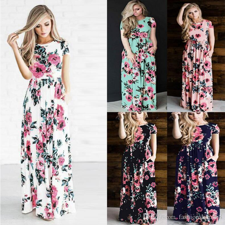 68875bb5154bf Women S Fashion Spring 3 4 Sleeve Classic Rose Maxi Dresses Long Sleeve  Skirt Casual Dresses Multicolor Plus Size 3XL Dresses For A Cocktail Party  Cocktail ...