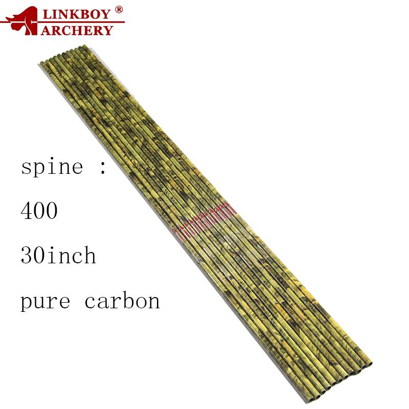 Linkboy Archery Carbon Arrow Shafts 30 '' Spine 400 ID6.2mm OD7.6mm Verde Camo Skin Compound Ricurvo Arco Caccia tiro