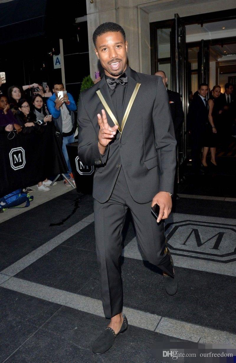 Siyah İki Adet Düğün Smokin Slim Fit Erkekler Için Suits Groomsmen Suit Ucuz Custom Made Balo Resmi Takım Elbise Ceket + Pantolon