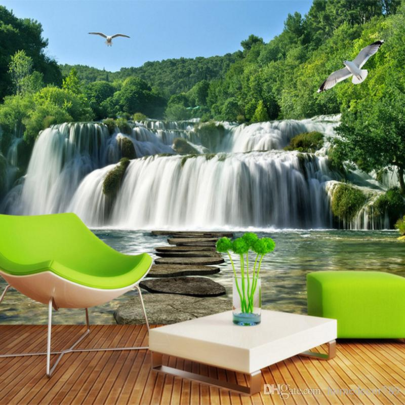 Custom Photo 3D Photo Wallpaper Murales Naturaleza Paisaje Cascada Sofá TV Fondo Pared decoración del hogar 3d papel tapiz para sala de estar al por mayor