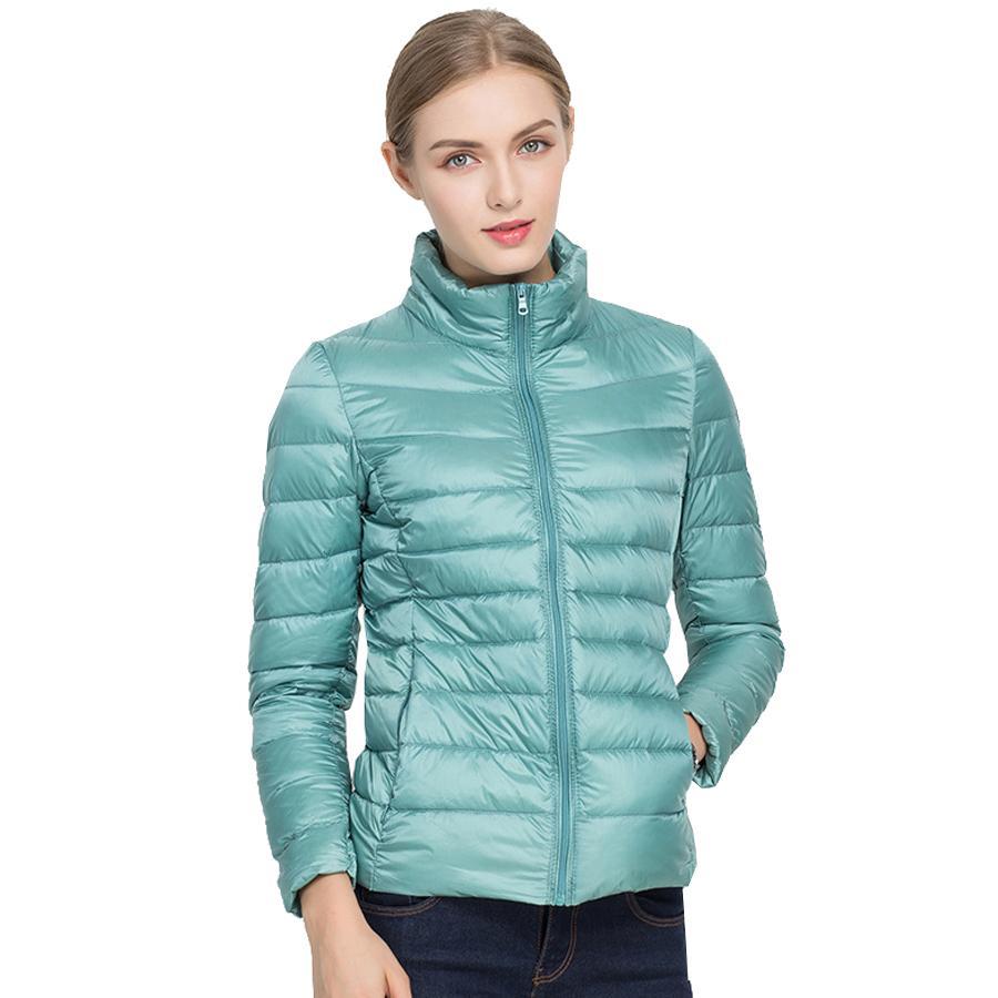 25f97f992 New Autumn Winter Women Ultra Light White Duck Down Jackets Candy Color  Slim Short Design Warm Down Coats casaco de neve S1031