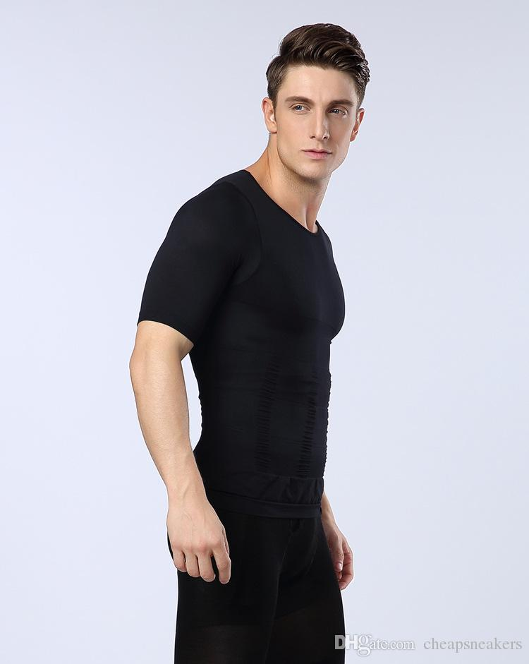 Version améliorée Hommes Corps Shapers manches courtes t-shirts Taille Abdomen Chest Sous-vêtements sans soudure Body Shaped Collants