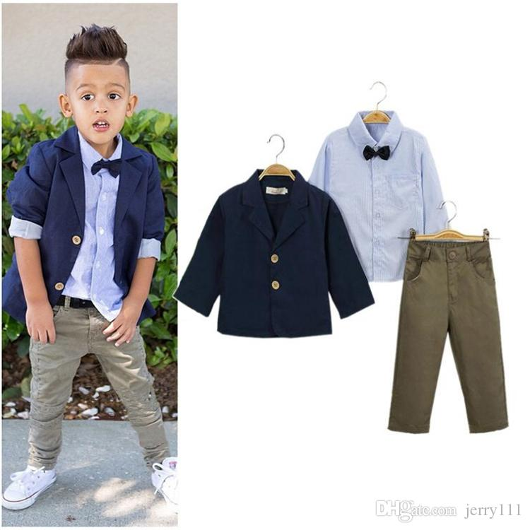 062b2ccaf585 2019 Kids Clothing Suits Boys Coat + Tie Shirt + Trousers Baby Boy ...