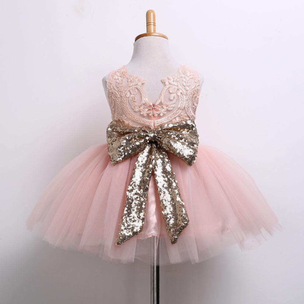 Pricess Kids Baby Girl Paillettes Boknot Dress Party Dresses Costume di Natale 0-10Y