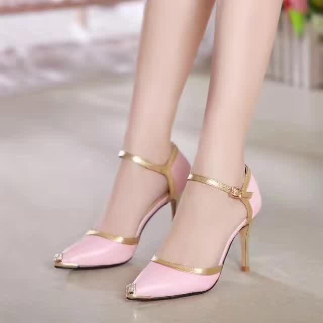 31f8e4942c31 2018 New Girls Quality Design Leather Heels Sandals Women S Fashion Sexy  Pink High 9cm Heel Shoes Office Lady Pumps Pointed Toe Size 40 DR20 White  Shoes ...