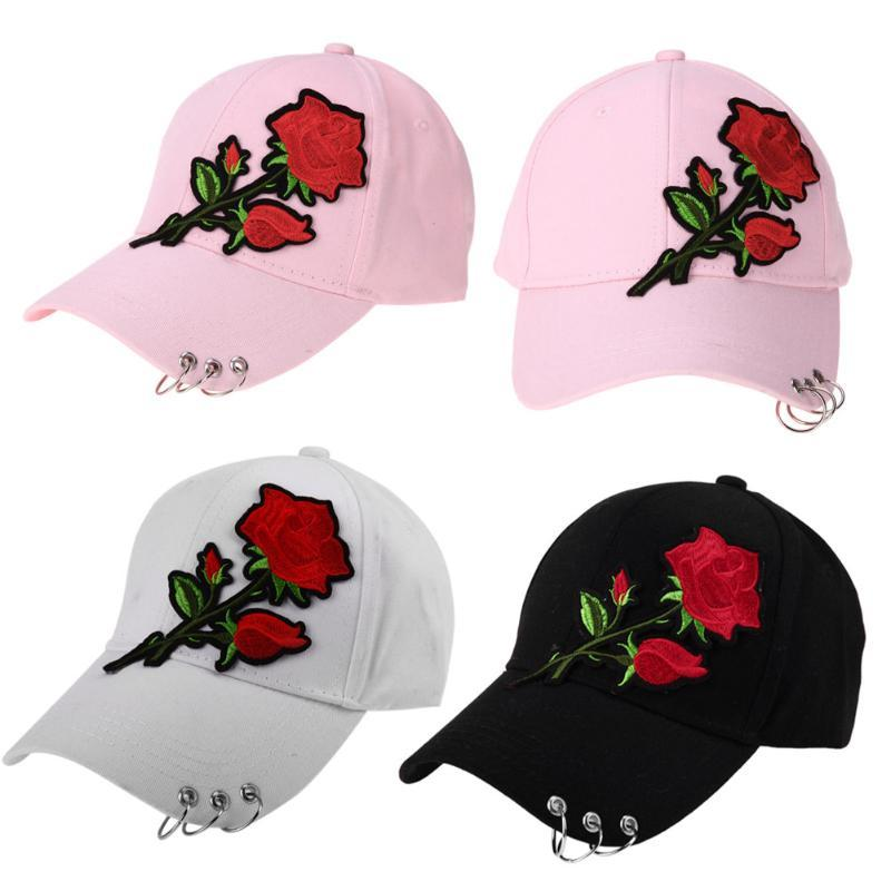 dfd020f6085 2018 Casual Baseball Cap Flower Embroidery Hat Cap Pink Black White  Snapback Hats Women Men Groupbuying Price Customized Hats Custom Hat From  Melontwo