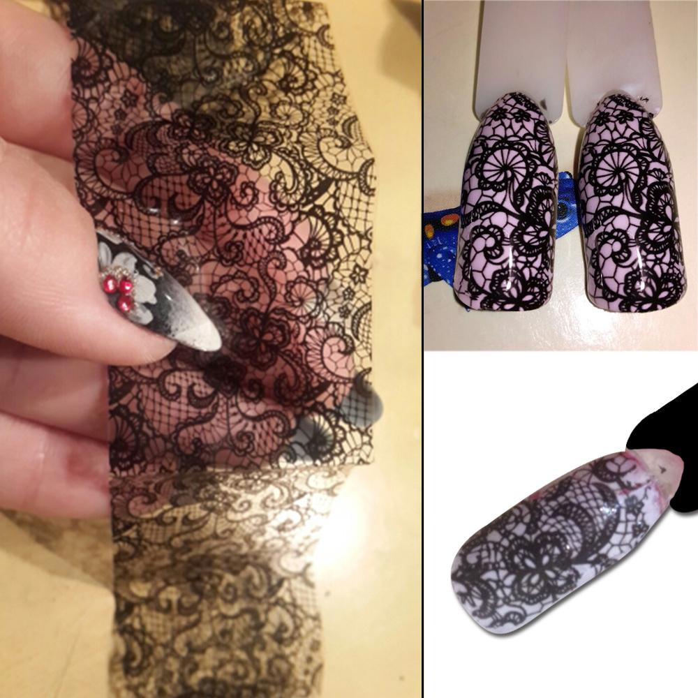 100cmx4cm New 2018 Black Lace Transfer Foil Nail Art Sexy Full Wraps