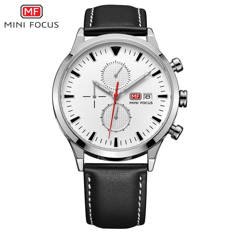 da0ce48f8ca Compre MINIFOCUS Homem De Luxo Relógio Vestido Relógios De Pulso À Prova D   Água Pulseira De Couro Importado Homens De Negócios Relógio De Quartzo  Horloges ...