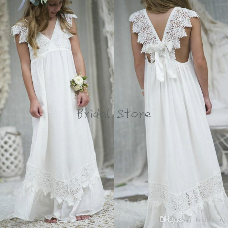 Pretty White Boho flower girl dresses for country wedding v neck lace backless Junior Bridesmaid Dresses Floor length Chiffon Cheap Beach