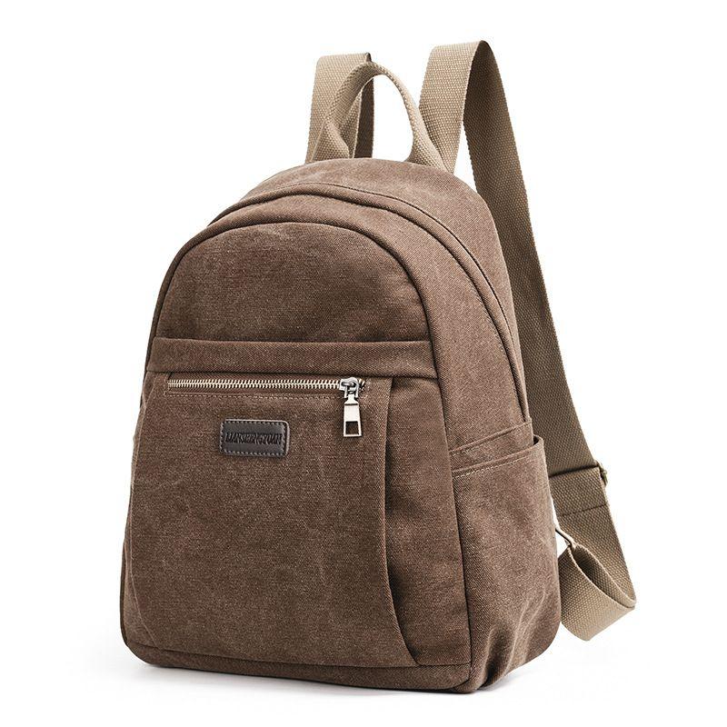 Small Backpack Canvas Women Harajuku Bag Solid Zipper Below 20 Litre Ita Bag  Interior Slot Pocket Interior Pocket Jacquard Black Leather Backpack  Backpacks ... e4f9d603ed95f