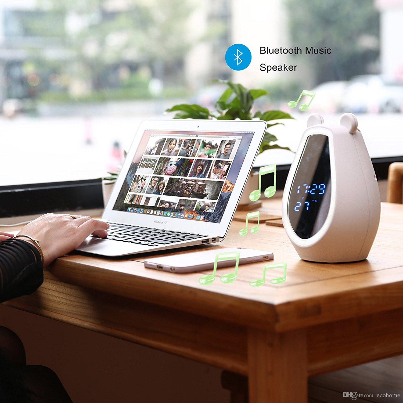 LED Mirror Digital Alarm Clock Cute Bear Wireless Bluetooth Speaker Night Light Smart Motion Sensor Cosmetic Mirror for Girls Bedroom Decor