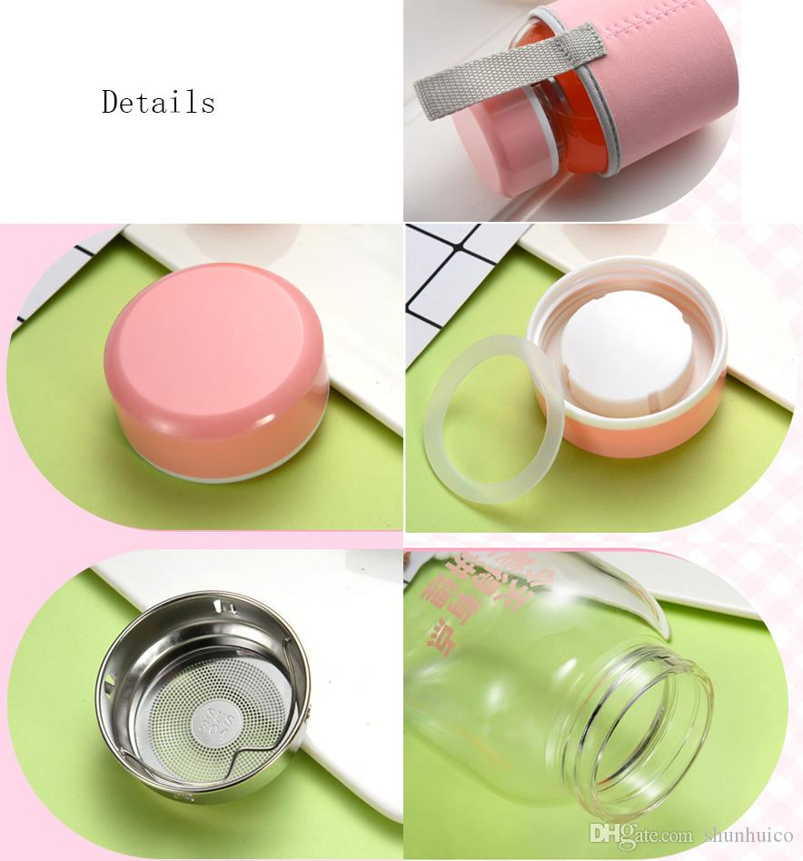Glass water bottle 500ml with tea infuser glass bottle heat ressistant with protective bag drinking bottle