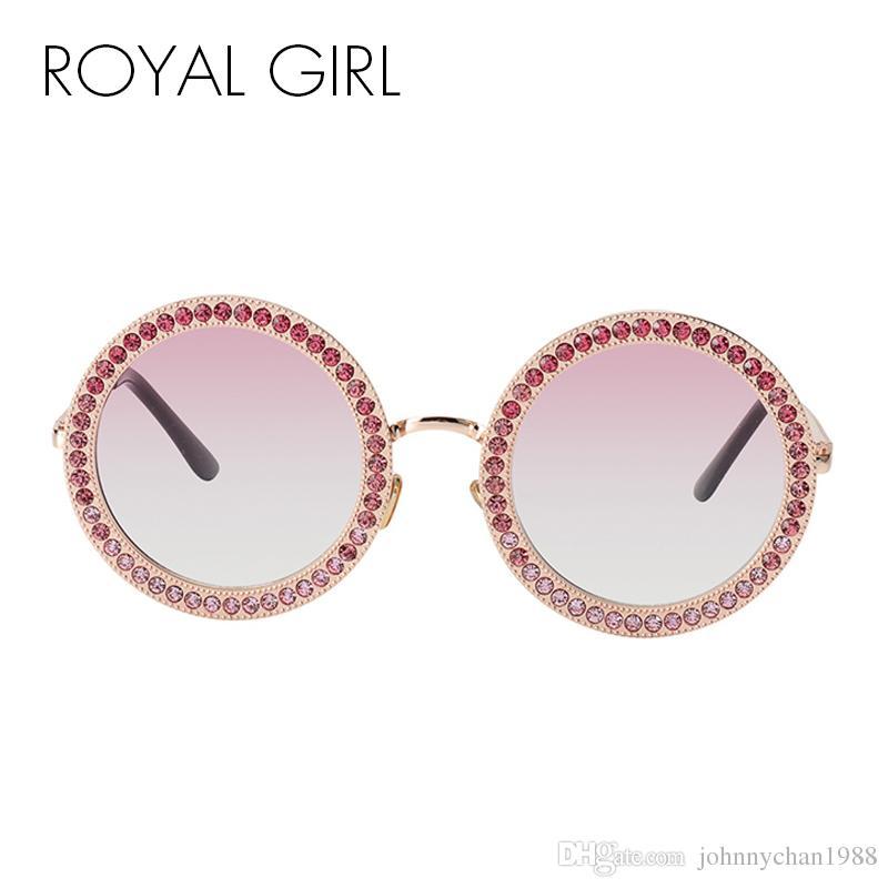 a7a9884b512ab Compre ROYAL GIRL 2018 Mulheres Redonda De Cristal Óculos De Sol Da Marca Designer  De Luxo Strass Óculos De Sol De Alta Qualidade Shades Oculos Ss970 De ...