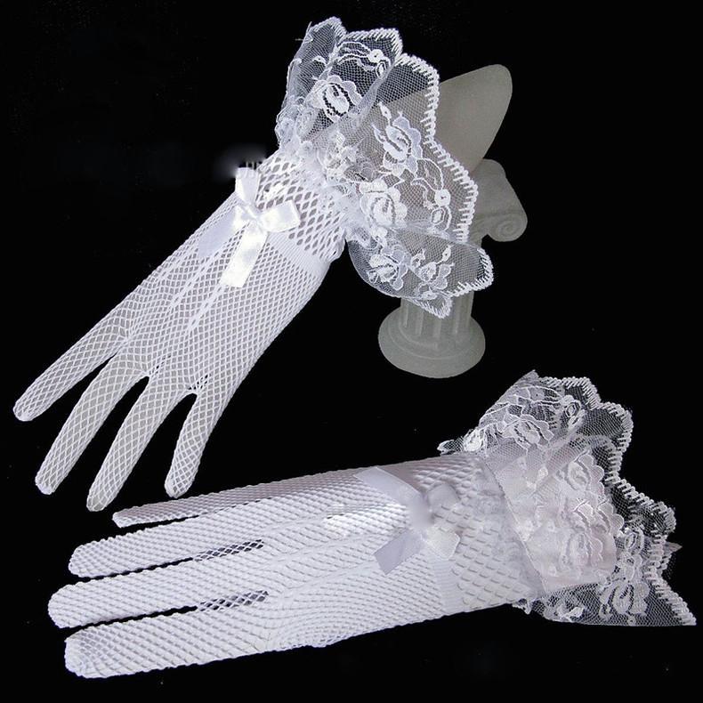 Bow Knot Short Wedding Bridal Gloves Mesh Lace Decoration Ultra Elastic Knitted Black White Black Gloves
