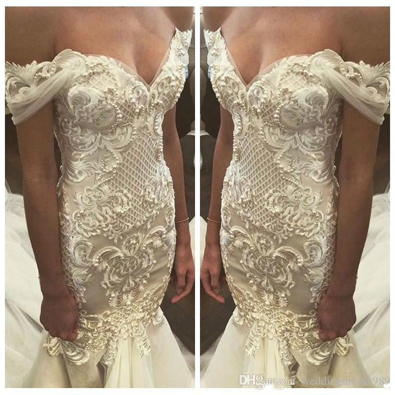 Exquisite Pearls Beads Mermaid Lace Wedding Dresses Ivory Off Shoulder Slim Middle East Arabic Country Bridal Gown Bride Dress Custom