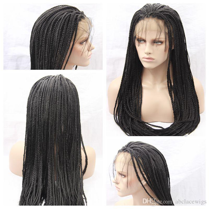 Top Quality Braided Wigs with Baby Hair Synthetic Braiding hair Heat Resistant Black Braided Synthetic Lace Front Wigs for Black Women