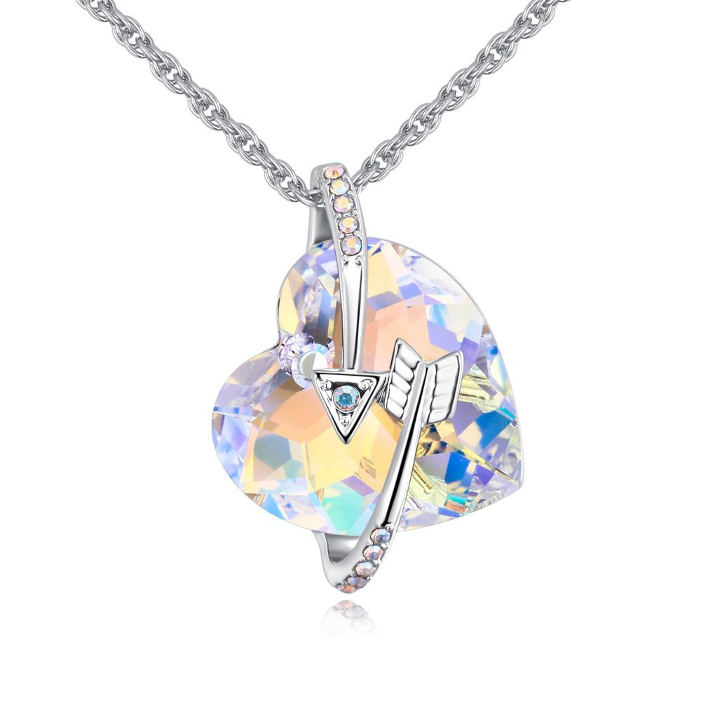 1a1f59aaddb0 Wholesale Crystal Heart Arrow Pendant Necklace Made With Crystals From  Swarovski For Women Wedding Bride Jewelry Valentine S Day Gift Silver Heart  Pendant ...