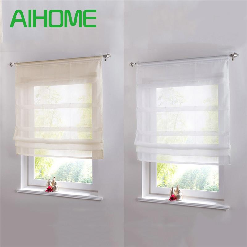 Pure Color Roman Venetian Blinds Balcony Kitchen Window Curtain Shower Wooden Pearl Decorative Bathroom Shower Curtain Hook