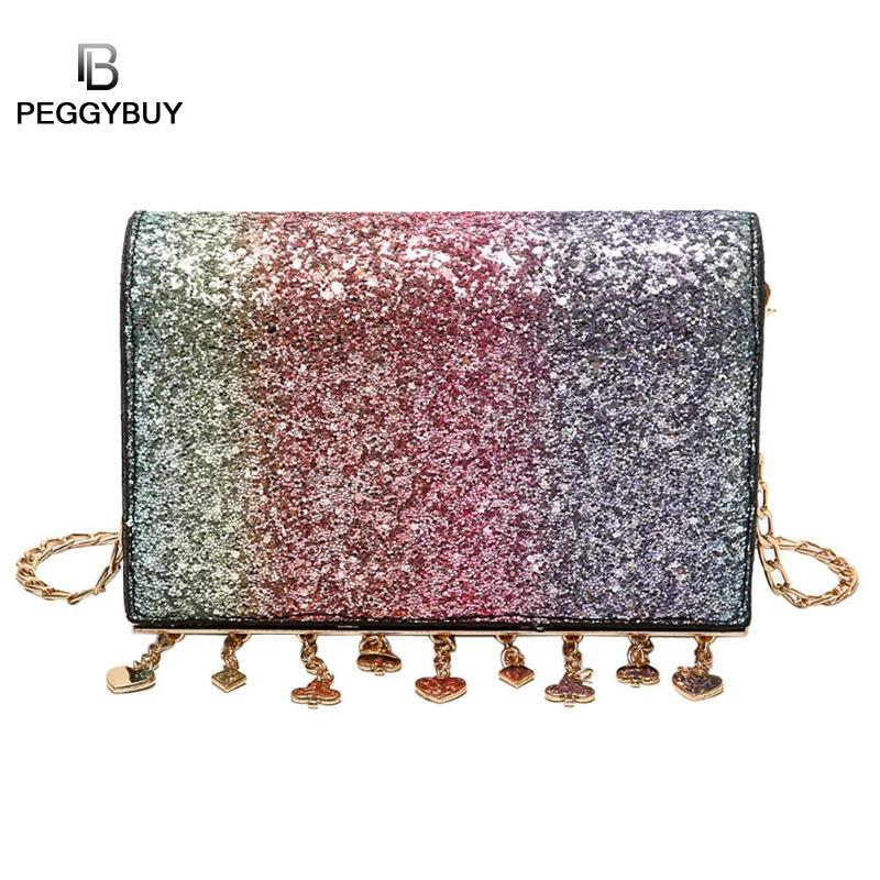 Women Shining Sequins Tassels Chain Shoulder Bags Famous Design Party Girls  Crossbody Bags Portable Fashion Messenger Handbags Clutch Bags Hobo Bags  From ... 6494d3d691a7