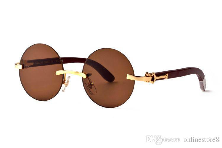 فرنسا مصمم ماركة بدون شفة جولة نظارات شمسية الخشب الساقين بوفالو القرن نظارات للرجال النساء اللينات الخيزران النظارات الخشبية مع صندوق أحمر