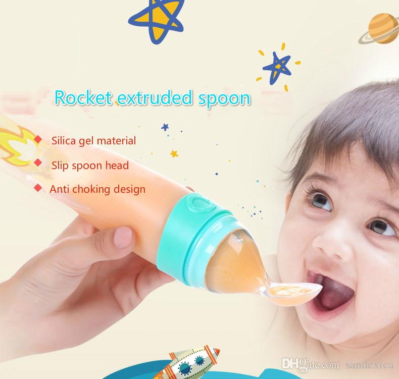 120ml Newborn Baby Squeezing Feeding Bottle Silicone Training Rice Spoon Infant Food Feeder Safe Tableware Tools