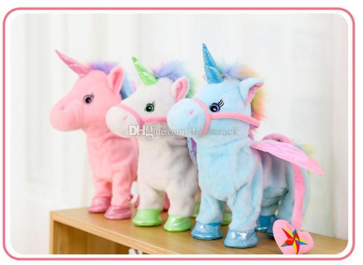 Surprising Walking Unicorn Interactive Plush Shiny 35cm Plush