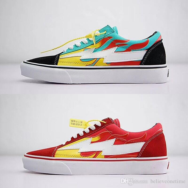 0387463552ae 2019 Revenge X Storm Old Skool Pop Up Store Low Cut Limited Sneaker Green  Fire Red IAN Teal Flame U.S. Canvas Suede Mens Women Casual Skate Shoes  From ...