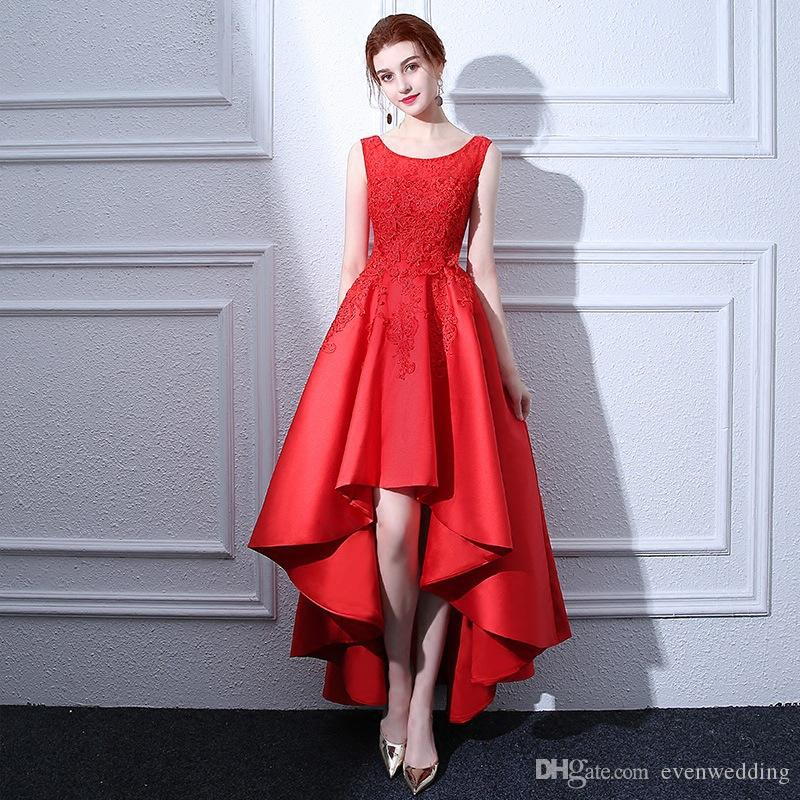 Scoop Neck Lace Satin Evening Dresses 2019 Beaded High Low Prom Dress Red  Party Dresses Elegant White Evening Dresses Womens Clothing Uk From  Evenwedding a24e5a23e