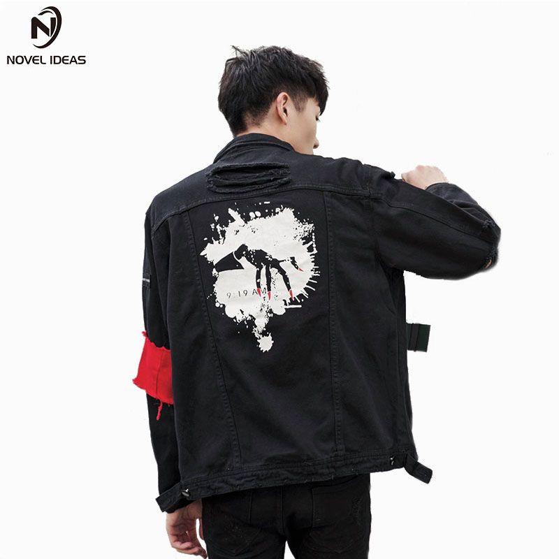 Jeans Jackets Men 2018 Hole Long Sleeve 424 Hip Hop Ripped Jean