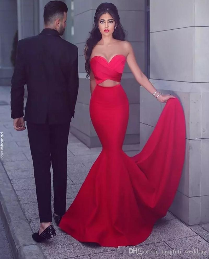 Sexy Red Mermaid Evening Gowns Strapless Ruffles Cutaway Waist Prom Dresses Satin Floor Length Stain Formal Party Prom Dresses WY030