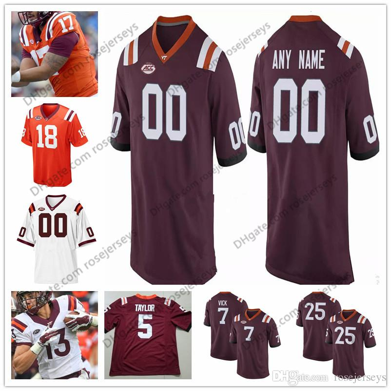 reputable site 38460 b0649 Customized Virginia Tech Hokies College Football Marroon Red White Orange  Stitched Any Name Number 7 Vick 83 Eric Kumah Jerseys S-3XL