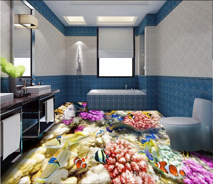 PVC wallpaper for floor Underwater world coral tropical fish 3D floor tile stickers paintings wallpaper
