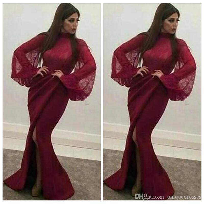 Vestidos de noche de sirena de Arabia Saudita Borgoña para mujer de manga larga de satén de encaje Sexy Split de cuello alto Vestidos de fiesta de baile Vestidos De Fiesta
