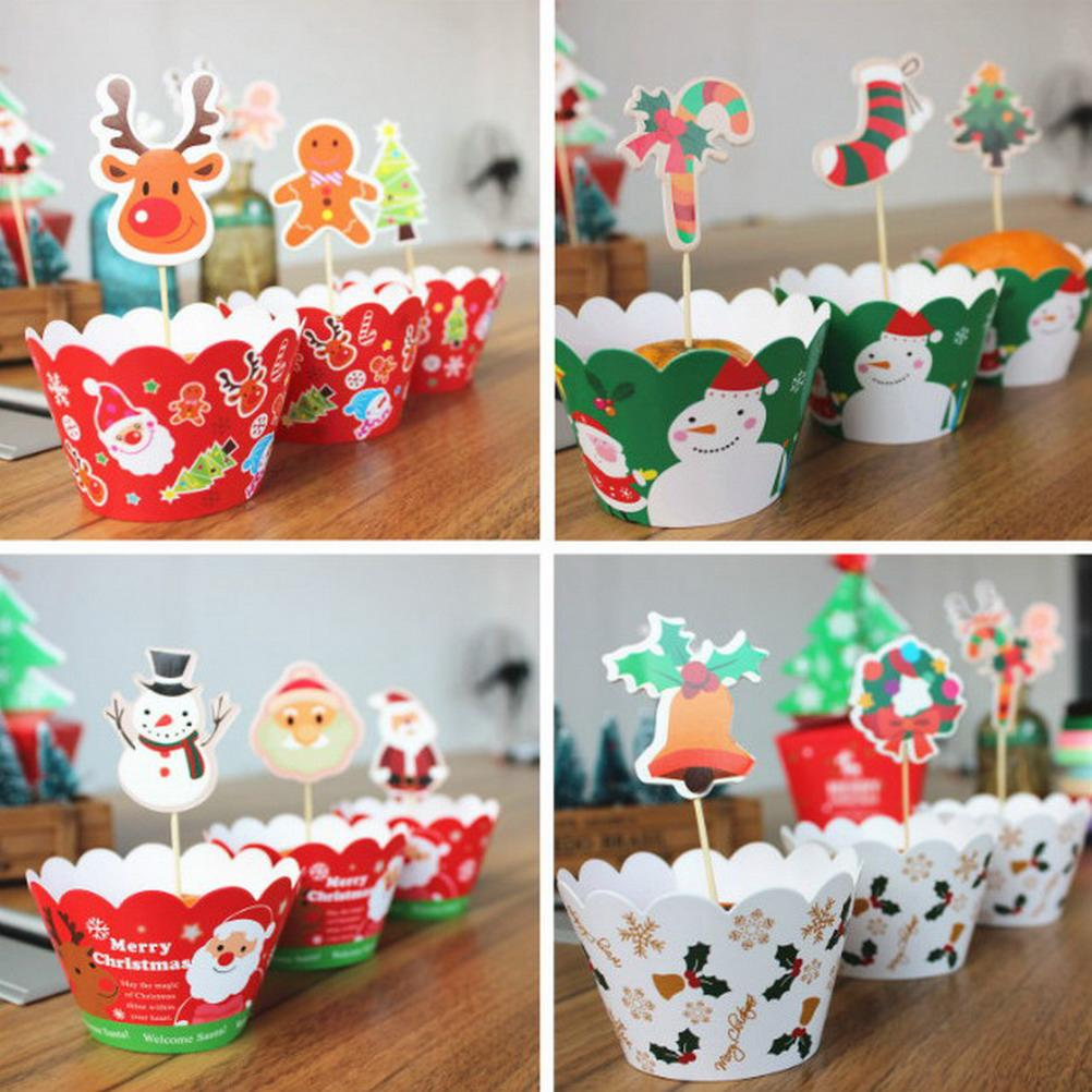 24Pcs/set (12pcs toppers +12pcs wrappers) Christmas Cupcake Topper Wrapper Kids Birthday Party Decor Festive & Party Supplies