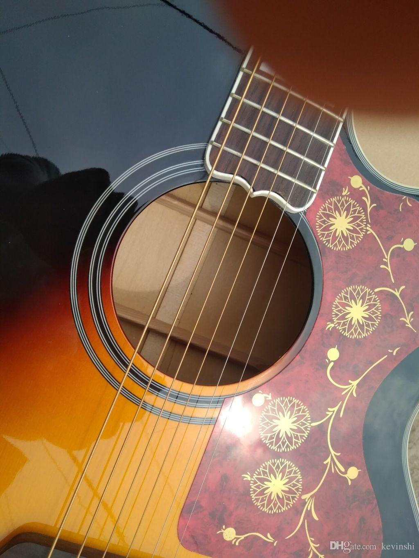 "KSG Jumbo sunburst cutaway acoustic guitar spruce top 43"" acoustic electric guitar maple body acoustic guitar Chinese made G200 VS guitarra"